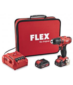 Двухскоростной аккумуляторный шуруповерт Flex DD 2G 10.8-LD/2.5 Set Promo